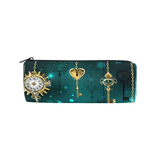 Ahomy rundes Federmäppchen, antikes Schlüssel-Zifferblatt, goldfarbene Kette, Schreibwaren-Beutel, Stifthalter, Reise-Make-up-Tasche