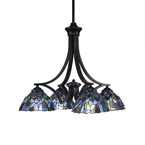 "Toltec Lighting 568-MB-9955 Zilo 4 Chandelier with Blue Mosaic Glass, 7"", Matte Black"