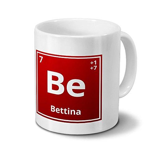 Tasse mit Namen Bettina als Element-Symbol des Perioden Systems - rot - Namenstasse, Kaffeebecher, Mug, Becher, Kaffeetasse