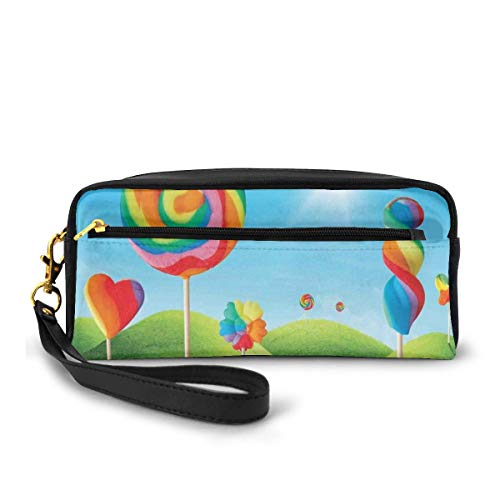 Pencil Case Pen Bag Pouch Stationary,Fantasy Candy Land with Delicious Lollipops and Sweets Sun Cheerful Fun Print,Small Makeup Bag Coin Purse