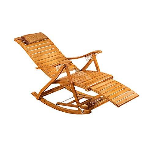 FEIFEI Bamboo Lounge - Silla plegable para balcón, siesta, silla de jardín o jardín de madera reclinable con reposacabezas y reposapiés retráctiles, portátil, tumbona de 150 K