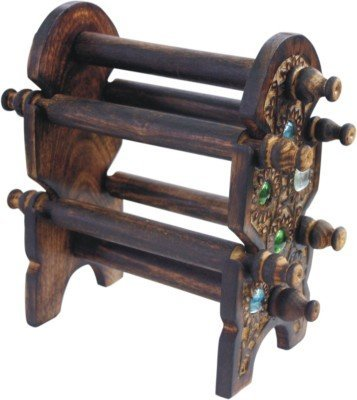 Indus Lifespace Wooden Handmade 6 Rod Bangle Stand with Decorative Inlay Work for Bangle Organizer 24.13cm