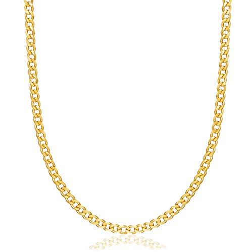 Womens Gold Chain Necklace | Barzel 18K Gold Plated Curb / Cuban Link Gold Chain Necklace 5MM For Women or Men - Made In Brazil (5MM Gold, 22)