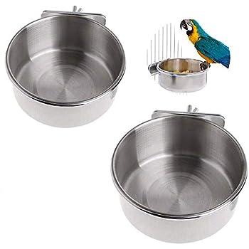 Cage À Oiseaux Bol D'alimentation Bol,2 Pièces Mangeoire pour Les Oiseaux en Acier Inoxydable,Gobelet à Nourriture D'Oiseaux,Suspendu Nourriture pour Oiseaux Accessoires,pour Parrot,Pigeon Feeding