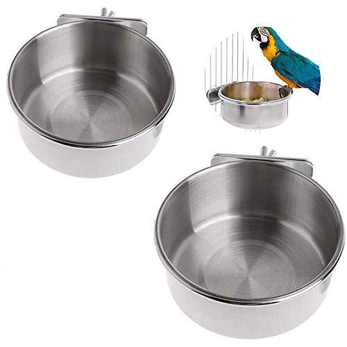 Vogelnapf Edelstahl,2 Stück Vogel Fütterung Näpfe,Vogelnapf Futter Schüssel,Vogelfutterschale für Papageien,Hängende Lebensmittel Futternapf,für Papagei,Taubenfütterung(10CM,12CM)