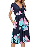Newshows Women's Short Sleeve V-Neck Faux Wrap Casual Midi Dress with Pockets(Floral 17,Large)