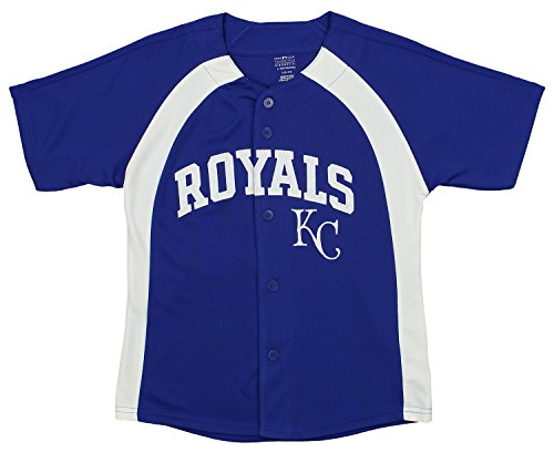 Outerstuff MLB Youth Boys Blank Baseball Jersey, Various Teams (Kansas City Royals, Large (14-16))