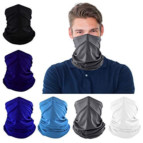 Dapaser 6 Pack Bandana Face Mask Breathable Cooling Neck Gaiters for Men Women Dust UV Protection Reusable Face Cover for Running Fishing