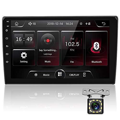 Estéreo Coche de Doble DIN, Podofo Radio Coche Bluetooth In-Dash Video 9 '' HD Pantalla Táctil Autoradio Car MP5 Player Soporte FM USB Control del Volante Mirror Link + Cámara de Respaldo