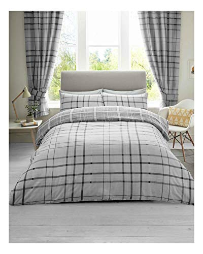 Lions Check Grey Striped Reversible Soft Duvet Cover, Quilt Bedding Set With Pillowcases, Super Soft, Double Size, 3 Piece