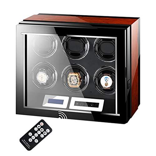 Scatole Carica Orologi Scatola Carica Orologi Automatici LCD-Touchscreen-Display Telecomando, Motore Estremamente Silenzioso, Illuminazione LED Morbidi Cuscini Flessibili Finitura in Legno