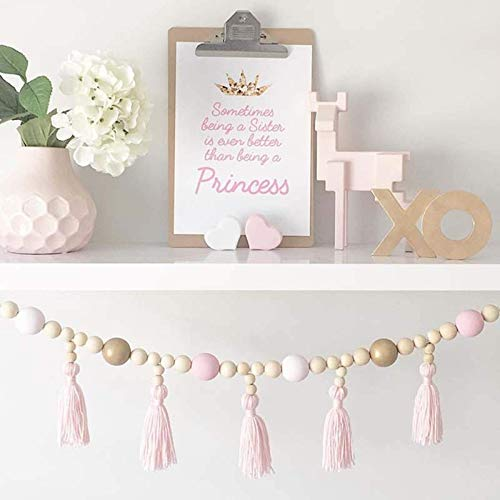 WANZSC Nordic Kid Baby Room Yarn and Bead Garland Hanging with Tassel Nursery Pearl Decor Props for Kids Room Gift Giving Tent Ornament (D)