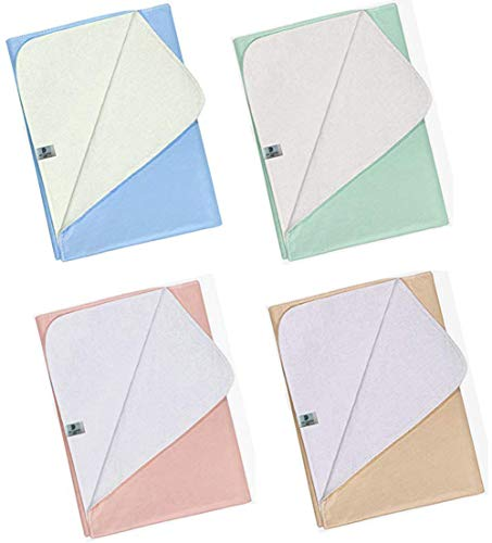 Platinum Care Pads™ Washable Reusable Bed Pads - Beige, Medium (Size 23x35) 4 Pack (1 Blue 1 Green 1 Pink 1 Beige)