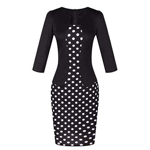 TEELONG Kleider Damen Patchwork-Tupfen-gedruckte Abnutzung, zum des Geschäfts-Partei-formalen Schärpe-Kleides zu bearbeiten Ballkleid Partykleid Cocktailkleid(L, Schwarz)