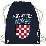 Shirtracer Fußball-Europameisterschaft 2020 - Kroatien Wappen WM - Unisize - Navy Blau - kroatien beutel - WM110 - Turnbeutel und Stoffbeutel aus Baumwolle