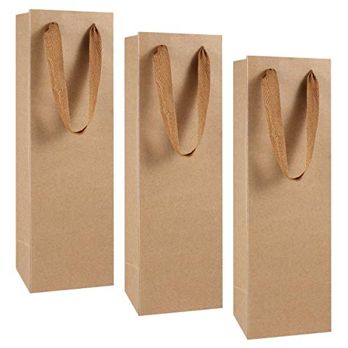 Garneck Bolsas de papel kraft para vino, bolsa de regalo, bolsas de papel marrón, bolsa de la compra con asa para botellas, individual botella para Navidad