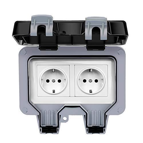 Außensteckdose Steckdose für Feuchtraum Aufputz Schutzkontakt Außensteckdose IP66 Wetterfest Hochleistungs-2Fach-Schalt Outdoor Steckdose für den Außenbereich mit Klappdeckel