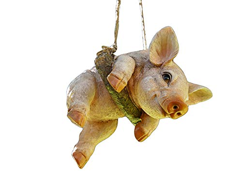Daisy Bumbles Hanging, swinging Pig on rope novelty tree garden ornament home decoration Pig lover gift H: 47cm W: 14cm D: 15cm