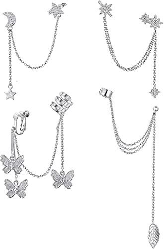 Milacolato - 4 piezas de cadena de pendientes con forma de estrella y luna para mujer, pendientes de...