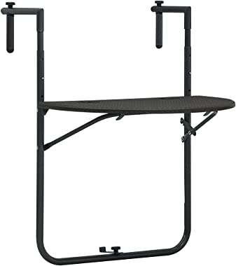 vidaXL Hanging Balcony Table Garden Outdoor Patio Coffee Side Table Plant Stand Storage Tools Worktop Foldable Brown Plastic