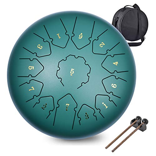 Steel Tongue Drum, WZTO Zungentrommel 13 Noten 12 Zoll Scheibentrommel Stahl Zunge Schlagzeuger Stahlzungen-Trommel Percussion Instrument Hand Pan Drum mit Trommelschlägeln und Tragetaschen(Grün)