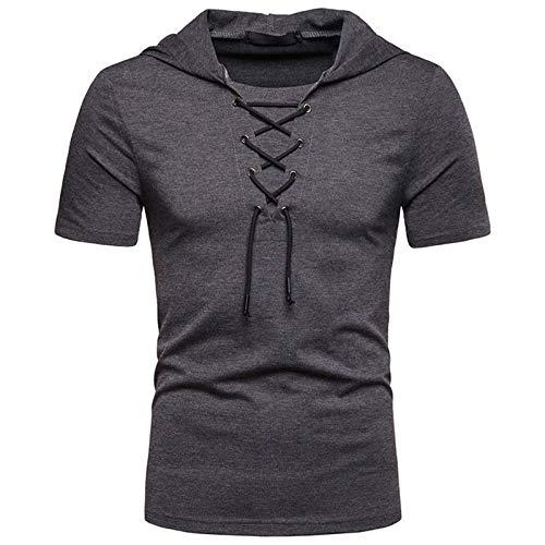 SSBZYES Camisetas con Capucha para Hombre Camisetas De Color Sólido para Hombre Camisetas De Manga Corta para Hombre Camisetas Casuales con Capucha para Hombre, Zapatos De Talla Europea, Sudaderas