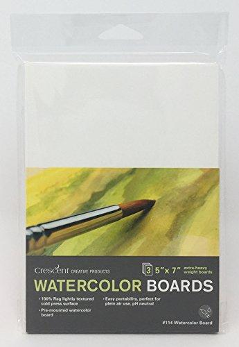 Crescent Creative Products Crescent Art & Illustration Watercolor, Board, 5' X 7', White 3 Count