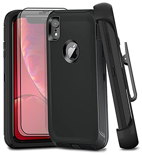 Fzxowux iPhone XR Case with 2 Screen Protectors, Heavy Duty Full Body Protection, Military Grade Rugged Cover Anti-Scratch Shockproof Case 6.1' (Black+Clip)