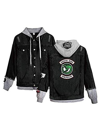 FAIRYRAIN Riverdale Southside Serpents Denim Jacket Coole Jeansjacke für Teenager Mädchen Herbst und Winterjacke Kapuzen Sweatshirt Jäckchen Damen Hoodie Jeansjacke XXL
