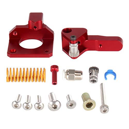 SainSmart Dual Gear Aluminum MK8 Extruder Drive Feeder, Flex Filament Printing, Filament Leakage Reduction, 3D Printer Upgrade, Red, Right Hand