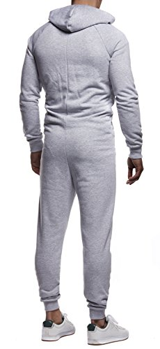Leif Nelson Herren Overall Jumpsuit Onesie Trainingsanzug Jogginghose Trainings T-Shirt Fitness Stringer Bekleidung LN8154; Größe XL; Grau-Schwarz - 4