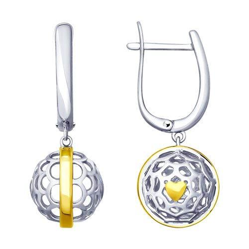 Pendientes colgantes de plata 925 parcialmente chapados en oro, marca Sokolov en Secretforyou