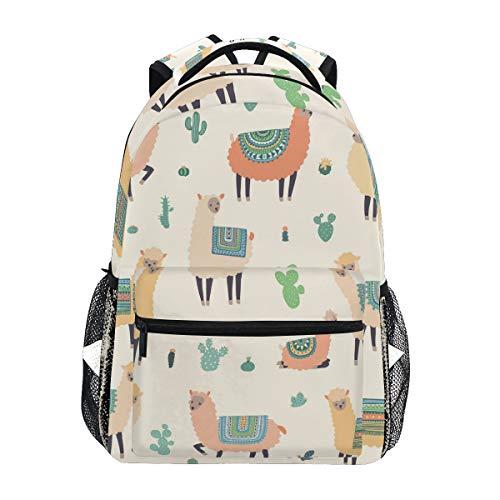 Llama Alpaca Kaktus Reise Laptop Rucksack Daypacks, tropische Pflanzen wasserabweisend College Schule Computer Tasche Bookbag für Damen & Herren Outdoor Camping & passt bis zu 35,6 cm Notebook