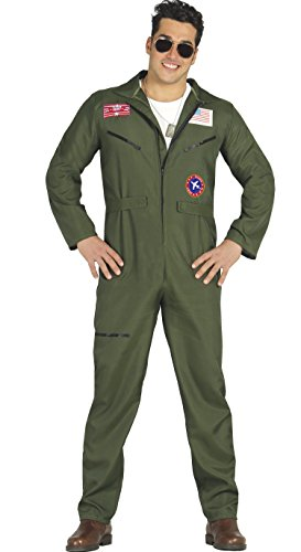 Guirca-80803 Disfraz adulto piloto caza, Color verde, Talla 52-54 (80803.0)