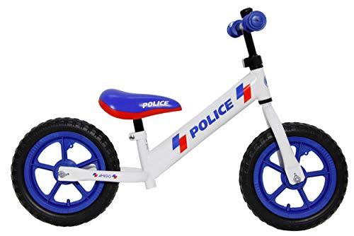Bicicleta de carreras Amigo Police de 12 pulgadas, para niños de 2 a 4 años, con marco de acero, manillar ajustable, tija de sillín ajustable y neumáticos neumáticos, hasta 30 kg, color blanco y azul
