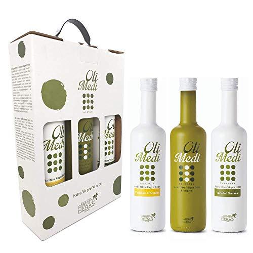 OLIMEDI | Estuche Regalo de Aceite de Oliva Virgen Extra Premium | Set de 3 variedades: Ecológico, Arbequina y Serrana (3 x 500 ml) | AOVE 100% Natural producido en España