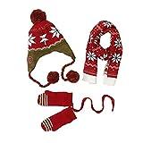 NCONCO Conjunto de bufanda y guantes para bebé, gorro de punto cálido, bufandas, mitones para niños y niñas, rojo vino, M