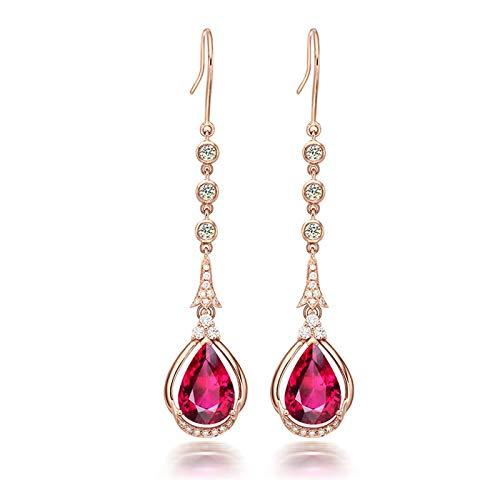 KnSam Boucle d'Oreille Femme Fine Longue Diamnt Tourmaline Rouge Naturelle 3.3ct, Or Rose 18 Carats Élégance Cadeau Noël