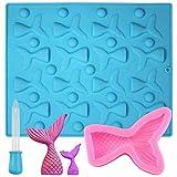 SENHAI Molde de silicona de cola de sirena de 16 cavidades y molde de cola de pez 3D con gotero para...