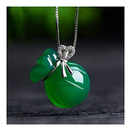 chenyou Pendant Natural Green Agate Chalcedony Pendant Necklace Inlay Pendant Women Gift Water Drop Necklace Pendant Jade Jewelry necklace (Gem Color : Money bag)