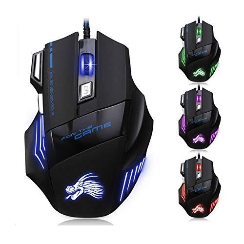 Wired Gaming Mouse, Ergonomic, 7 Buttons, 3200 DPI, Kabellose Maus, Windows PC Games USB Kabel Mäuse Gaming-Maus