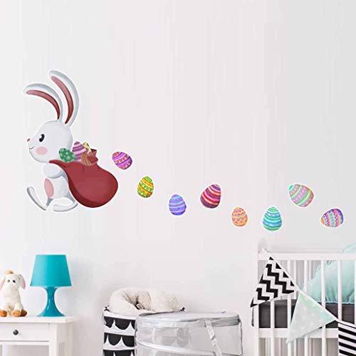 ELECTRI Lapins De Pâques Stickers Muraux Lapins Portant Des Oeufs De Pâques Autocollant Fenêtre De Pâques s'Accroche Festival Home Decor Bricolage Wall Sticker Amovible Réutilisable Décoration