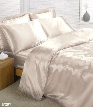 Cream Satin Silk Duvet Sheet Cover Set Double Size 6 pcs by Ideal Textiles
