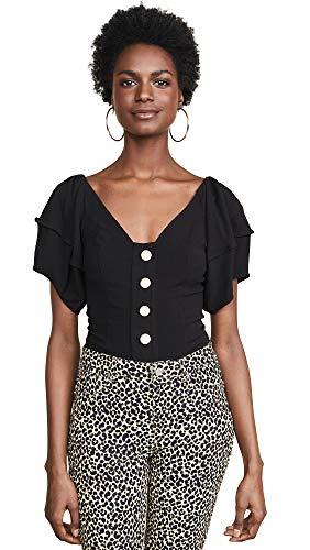 Free People Women's Not Basic Thong Bodysuit, Black, Large