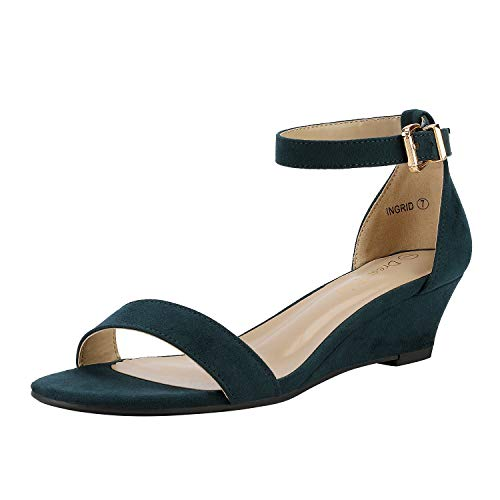 DREAM PAIRS Women's Ingrid Navy Suede Ankle Strap Low Wedge Sandals Size 9.5 M US