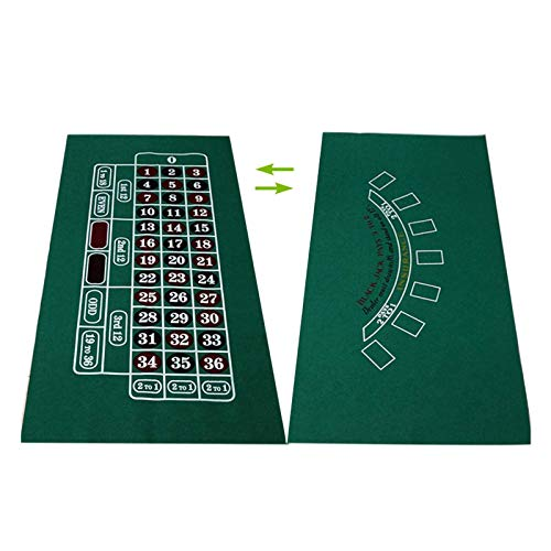 JHSHENGSHI Tragbare Poker Tischplatte 1pc Spielmatte Vliesstoffe 90cmx180cm Spieltuch Casino Layout Texas Hold'em Black Jack Baccrat Rou (Fußballspiele)
