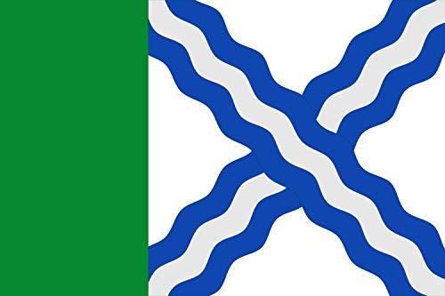 magFlags Bandera XL Albalatillo De Proporciones 2/3, Siendo el tercio del asta de Color Verde y el Resto Blanco con un aspa ondada de Tres   Bandera Paisaje   2.16m²   120x180cm