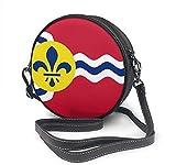 BAODANLA Bolso redondo mujer Round Crossbody Bag Flag of St. Louis Missouri Handbag Purse Single Shoulder Bag Sling Bag