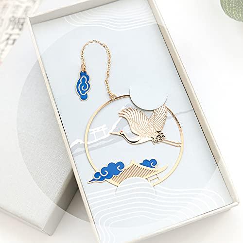 Segnalibro in metallo stile cinese classico culturale gru danza Chang'an design vintage stile vuoto segnalibro per gli studenti