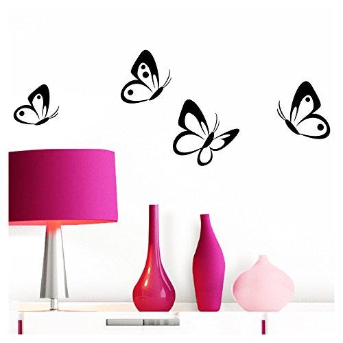 Grandora Wandtattoo 4er Set Schmetterlinge I schwarz 8-10 cm I Baby Kinderzimmer selbstklebend Wand Aufkleber Wandaufkleber Wandsticker Sticker W697